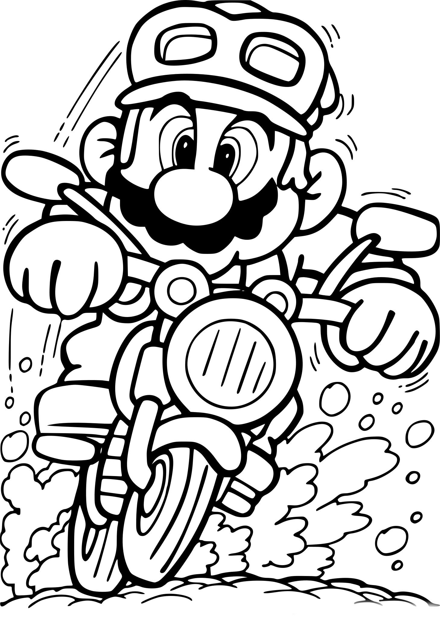 Coloriage Mario En Moto A Imprimer