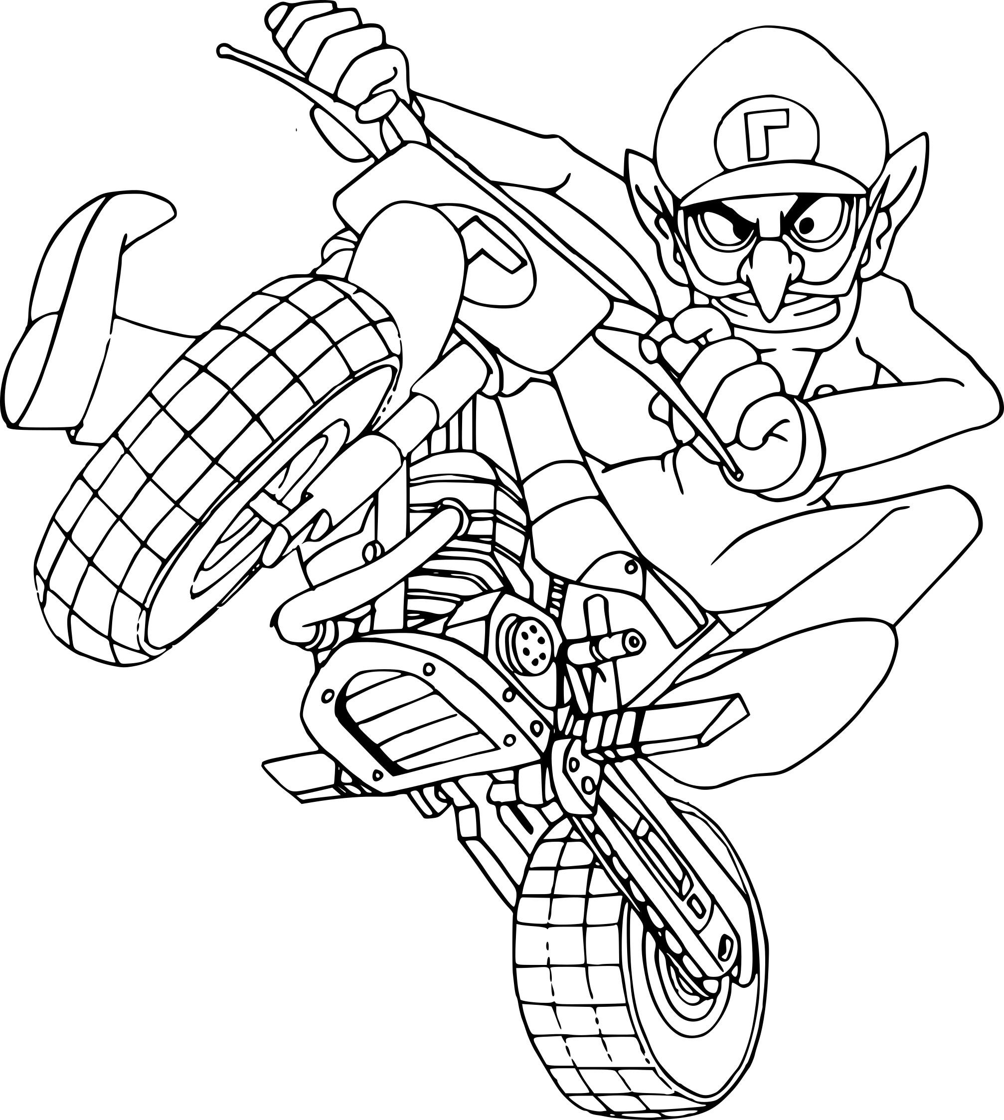 Coloriage Waluigi.Coloriage Waluigi Mario Kart A Imprimer