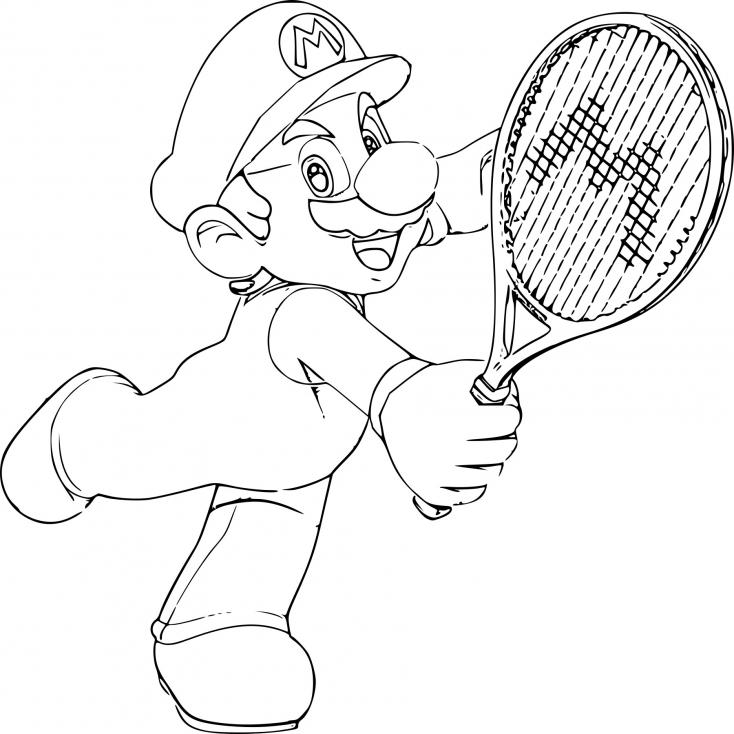 Coloriage Mario Tennis à Imprimer