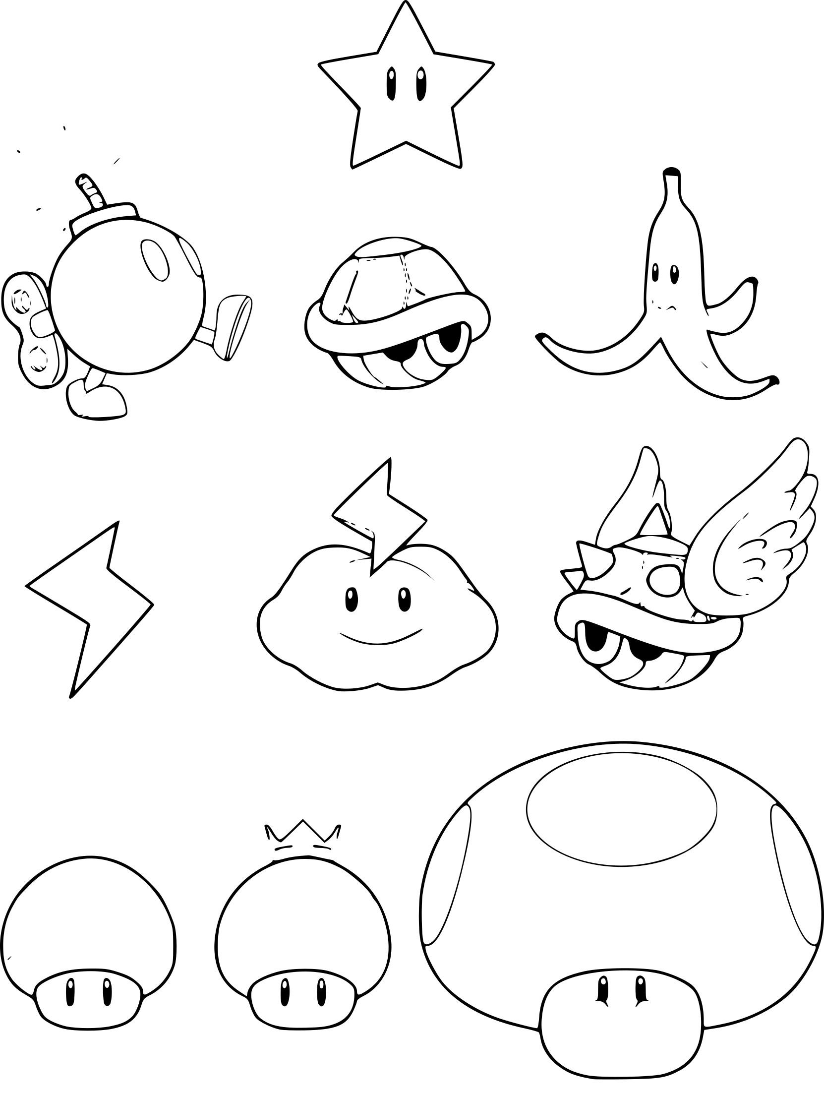 Coloriage Les objets de Mario à imprimer