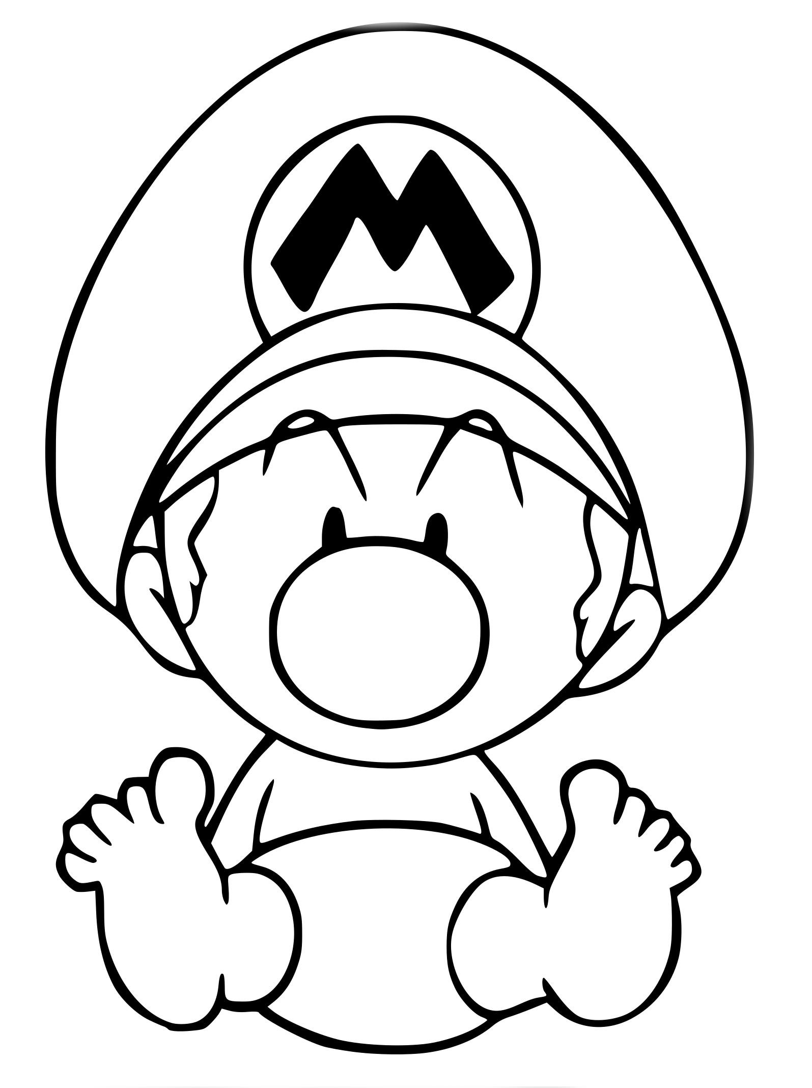 Coloriage Bébé Mario à Imprimer