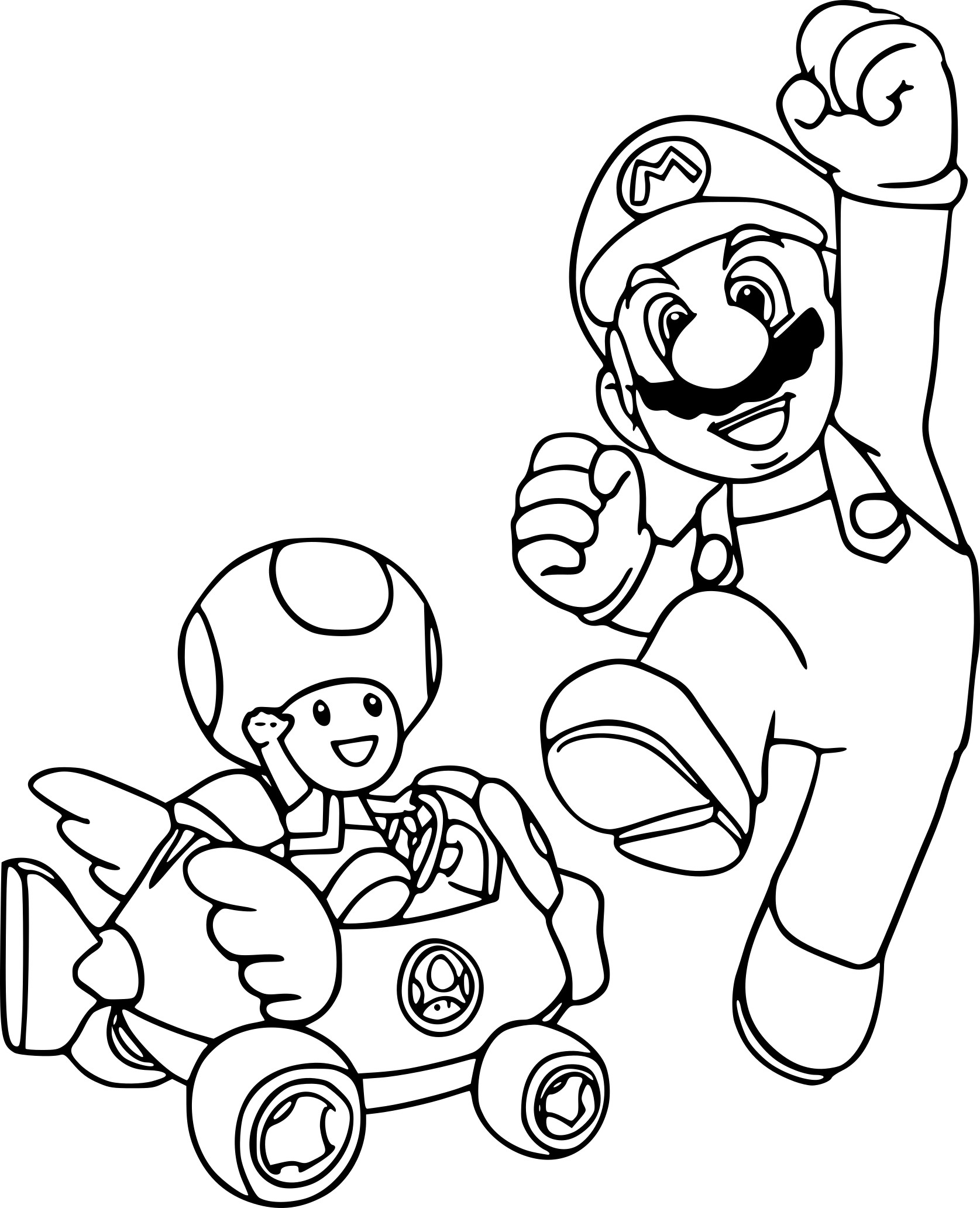 Coloriage Mario Et Toad A Imprimer